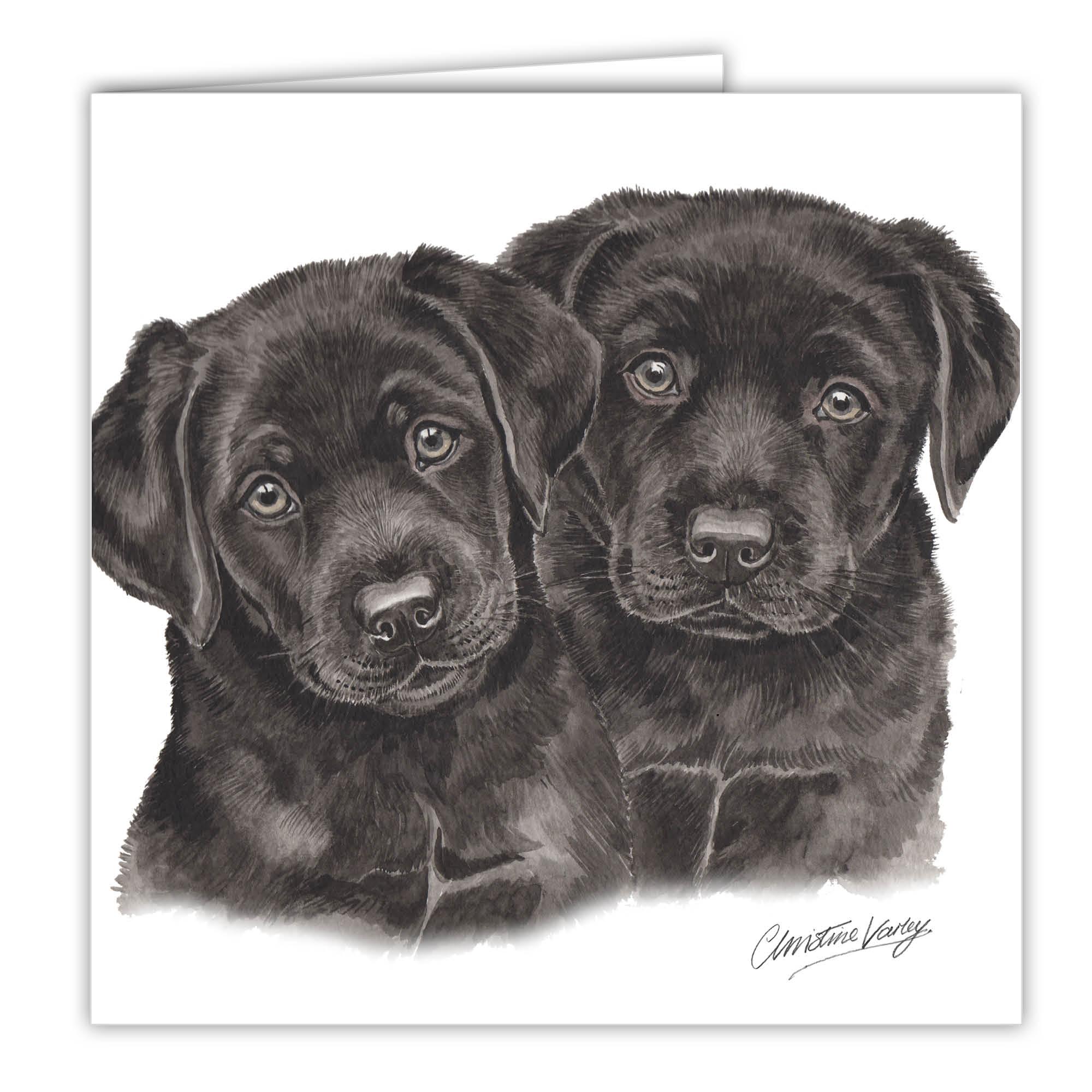 WaggyDogz Black Labrador Puppies Greetings Card