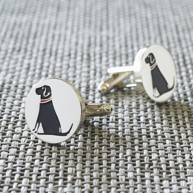 Sweet William Silver Plated Black Labrador Cufflinks