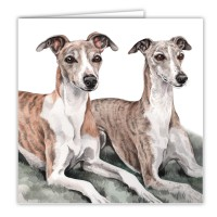 WaggyDogz Whippet Pair Greetings Card