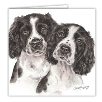 WaggyDogz Black Springer Spaniel Puppies Greetings Card