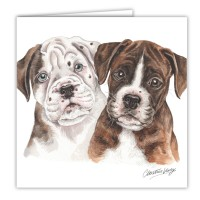 WaggyDogz Boxer Puppies Greetings Card