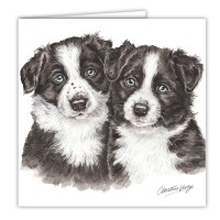 WaggyDogz Border Collie Puppies Greetings Card