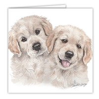 WaggyDogz Golden Retrievers Puppies Greetings Card