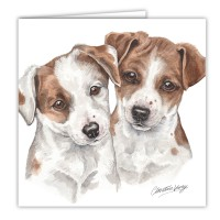 WaggyDogz Jack Russell Puppies Greetings Card