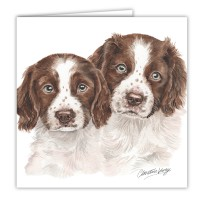 WaggyDogz Springer Spaniel Puppies Greetings Card
