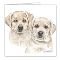 WaggyDogz Yellow Labrador Puppies Greetings Card