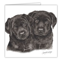 WaggyDogz Black Labrador Puppies Greetings Card