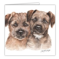 WaggyDogz Border Terrier Puppies Greetings Card