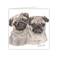WaggyDogz Pug Puppies Greetings Card