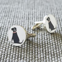 Sweet William Silver Plated Black Labrador Cufflinks