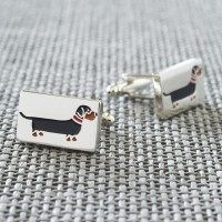 Sweet William Silver Plated Dachshund Cufflinks