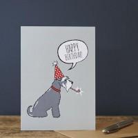 Sweet William Grey Schnauzer Birthday Card