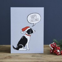 Sweet William Black Springer Spaniel Christmas Card